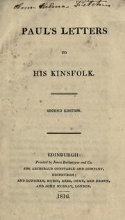 Paul's letters to his kinsfolk by Sir Walter Scott