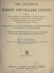 Cover of: The analytical Hebrew and Chaldee lexicon | Benjamin Davidson