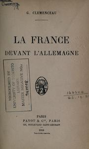 Cover of: La France devant l'Allemagne