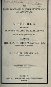 Cover of: The pastor's claims to the remembrance of his flock