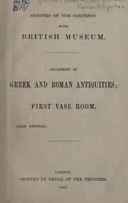 Synopsis of the contents of the British Museum by British Museum. Department of Greek and Roman Antiquities.