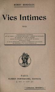 Cover of: Vies intimes ..