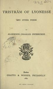 Cover of: Tristram of Lyonesse and other poems