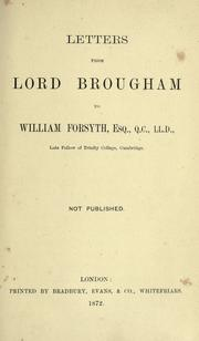 Cover of: Letters from Lord Brougham to William Forsyth