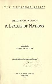 Cover of: Selected articles on a league of nations