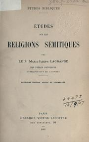 Cover of: ©ØEtudes sur les religions s©Øemitique