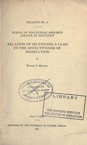 Cover of: Relation of sectioning a class to the effectiveness of instruction