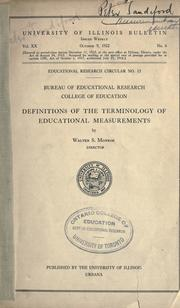 Cover of: Definitions of the terminology of educational measurements