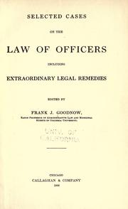 Cover of: Selected cases on the law of officers: including extraordinary legal remedies
