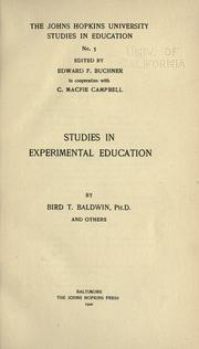 Cover of: Studies in experimental education
