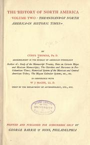 Cover of: The Indians of North America in historic times