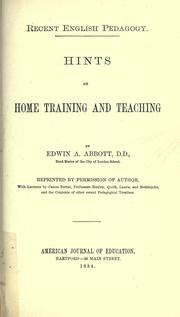 Cover of: Hints on home training and teaching