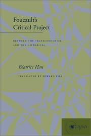 Cover of: Foucault's Critical Project: Between the Transcendental and the Historical (Atopia: Philosophy, Political Theory, Ae)