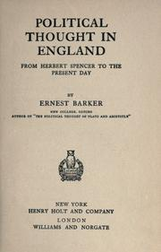 Cover of: Political thought in England from Herbert Spencer to the present day