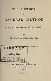 Cover of: The elements of general method