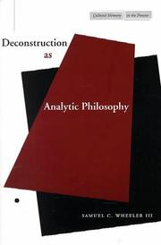 Cover of: Deconstruction as Analytic Philosophy (Cultural Memory in the Present)
