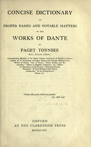 Cover of: Concise dictionary of proper names and notable matters in the works of Dante