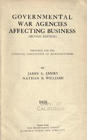 Cover of: Governmental war agencies affecting business