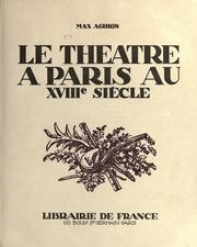 Cover of: Le théâtrè a Paris au 18e sìecle