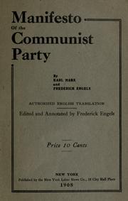Manifest Der Kommunistischen Partei Open Library