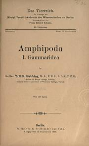 Cover of: Amphipoda I. Gammaridea