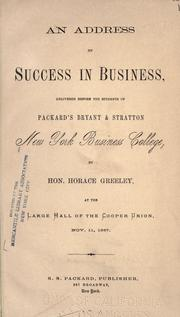 Cover of: An address on Success in business