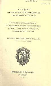 Cover of: An essay on the origin and formation of the Romance languages