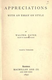 Cover of: Appreciations | Walter Pater