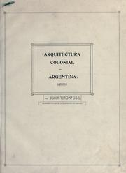 Cover of: Arquitectura colonial en Argentina