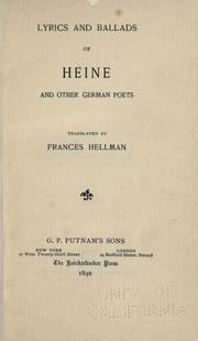Cover of: Lyrics and ballads of Heine and other German poets