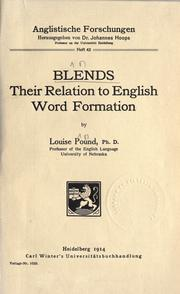 Cover of: Blends, their relation to English word formation