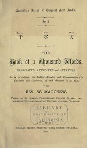 Cover of: The book of a thousand words | W. Matthew