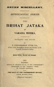 Cover of: The Brihat jataka