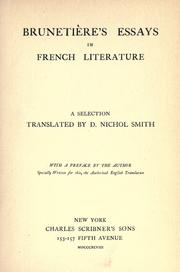 Cover of: Brunetière's essays in French literature