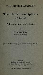 Cover of: The Celtic inscriptions of Gaul: additions and corrections.