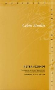 Cover of: Celan studies