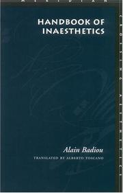 Cover of: Handbook of inaesthetics
