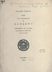 Cover of: Collected reprints. | Illinois University of. College of Medicine. Dept. of Surgery