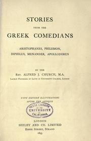 Cover of: Stories from the Greek Comedians: Aristophanes, Philemon, Diphilus, Menander, Apollodorus