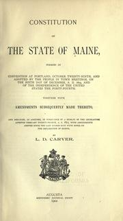 Cover of: Constitution of the State of Maine by Maine