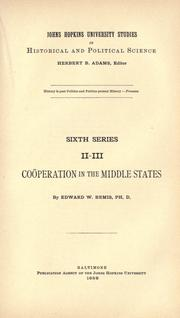 Cover of: Coöperation in the middle states