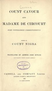 Cover of: Count Cavour and Madame de Circourt