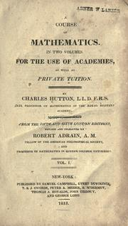 Cover of: A course of mathematics