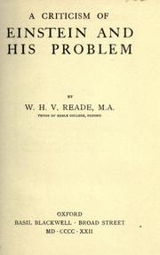 Cover of: A criticism of Einstein and his problem