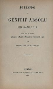 Cover of: De l'emploi du génitif absolu en sanscrit