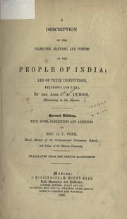 Cover of: Description of the character, manners, and customs of the people of India