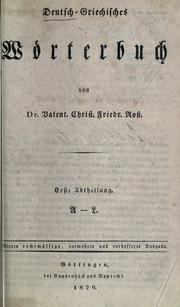 Cover of: Deutsch-griechisches Wörterbuch by Valentin Christian Friedrich Rost