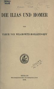 Cover of: Die Ilias und Homer