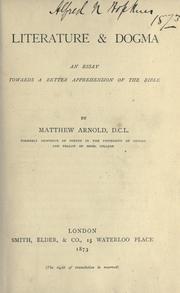 Cover of: Literature & dogma by Matthew Arnold