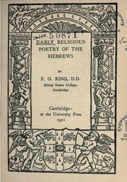 Cover of: Early religious poetry of the Hebrews